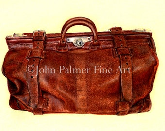 Antique Doctor's Bag - print from my original pastel painting.