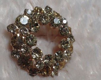 1950's Brooch with Pale Yellow Rhinestones-Unusual Color