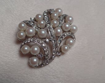 1960's Brooch with Faux Pearls and Clear Rhinestones
