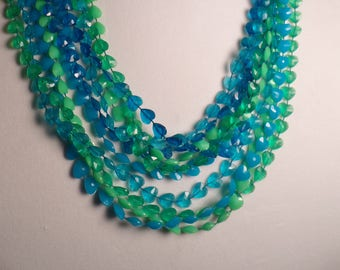 1950's Heart Shaped Beads with Blues and Greens