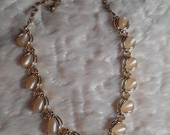 1950's Necklace with Beige Moon-Glow Drops