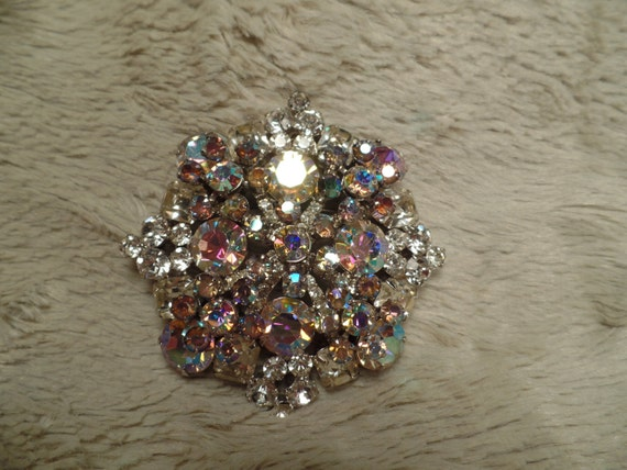 Huge 1950's Rhinestone Brooch-Unsigned Beauty