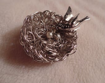 "1960's ""Wire Work"" Bird and Nest Brooch"