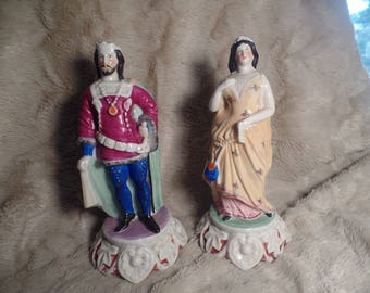 Late 1800's Staffordshire Royal Couple Figurines