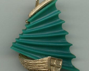 1950's Chinese Junk Boat Brooch with Dimensional Design