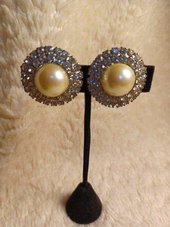 1950's Rhinestone and Faux Pearl Earrings.