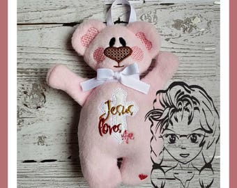 BeAR Jesus Loves Me Applique 3D Plush Softie Toy ~ In the Hoop ~ Instant download Design by Carrie