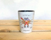 Singing Crab Ceramic Shot Glass Collectible Art. Whimsical art shot glass.