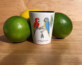 Colorful Macaws Passing the Doob Shot Glass
