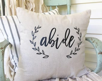 "Abide in Christ God Scripture Encouragement 18x18"" Housewarming Gift New Home Magnolia Market Inspired Cottage"
