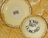 You've been poisoned bye tea cup and saucer altered china ivory brown teacup gift custom personalized present Murderino custom midcentury