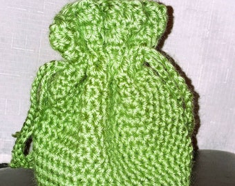 Hand knit lime green drawstring purse