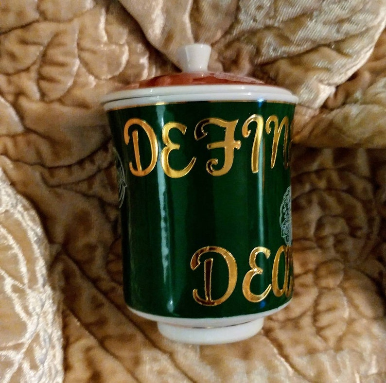Definitely Deadly green red gold poison jar you/'ve been poisoned bell jar gothic my goth kitchen poison jar vanity container small spice jar
