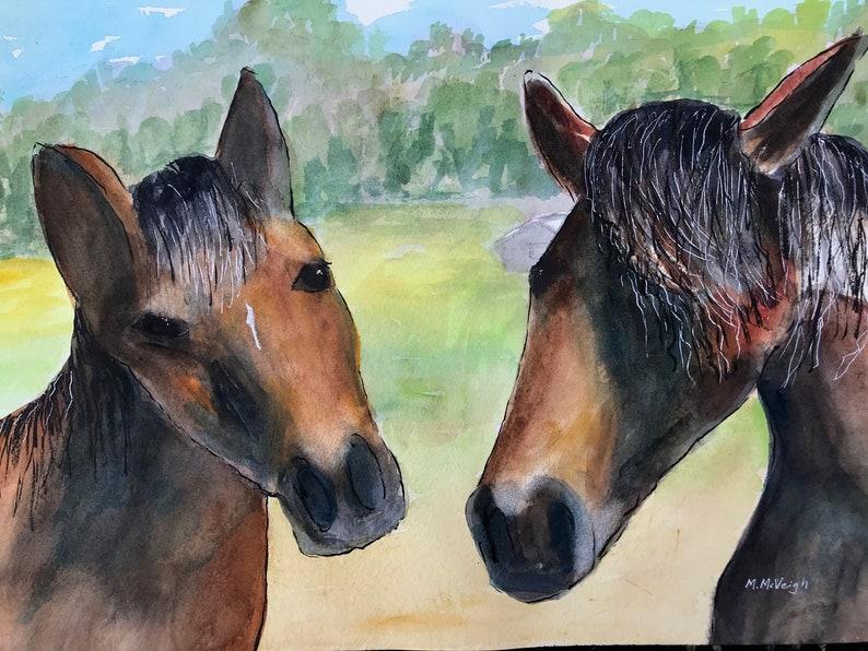 Two Horses Original Watercolor