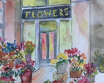 Flower Shop Original Watercolor Painting