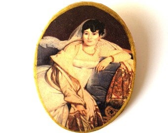 Brooch FAMOUS PAINTER, gold, women, portrait, by The Sausage