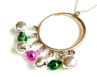 Necklace INDIE TRAVELER, mini glitter bells, pink, green, silver, by The Sausage
