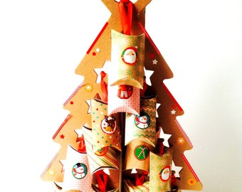 ADVENT CALENDAR, with handmade JEWELS, cardboard christmas tree with 24 pieces of gift wrapped pieces of jewelry. handmade by The Sausage