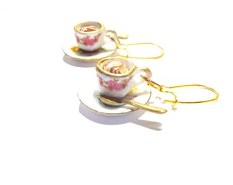 Earrings THE LATTE -- white and gold miniature cup and saucer earrings, handmade by The Sausage