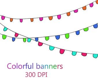 Colorful banner clip art, party banner clip art