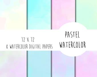 Pastel watercolor digital papers 12 x 12
