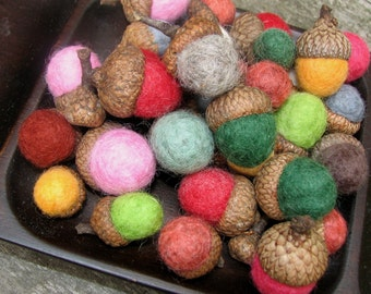 The Brights.  14 Needle FELTED Wool ACORNS.