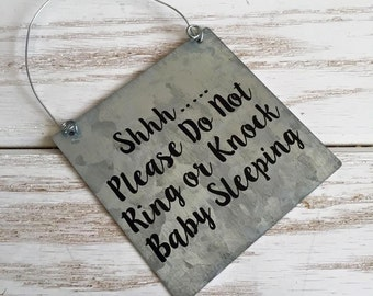 Baby Sleeping Do Not Knock Sign - Please Don't Ring Sign - Baby Sleeping Sign - No Soliciting - Do Not Disturb Sign - Nap Time Sign