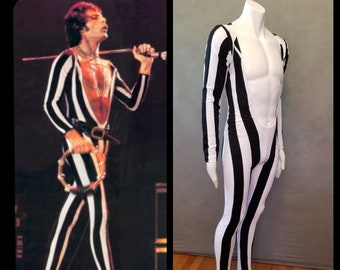 MADE TO ORDER Freddie Mercury Inspired Black and White Striped Bodysuit with attached feet for Men