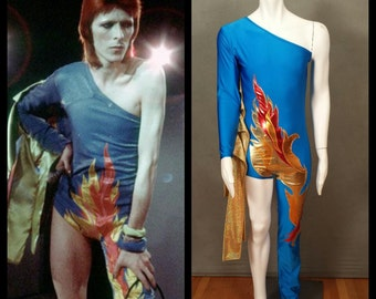 MADE TO ORDER David Bowie/ Ziggy Stardust Inspired One Shoulder-One Leg Bodysuit Flame Costume for Men