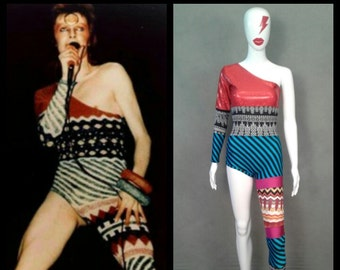 MADE TO ORDER Limited Edition David Bowie Inspired One Shoulder-One Leg Bodysuit Costume  sc 1 st  Etsy & David bowie costume | Etsy