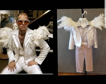 """MADE TO ORDER Elton John inspired 3 piece white feather """"wing"""" costume for toddlers"""