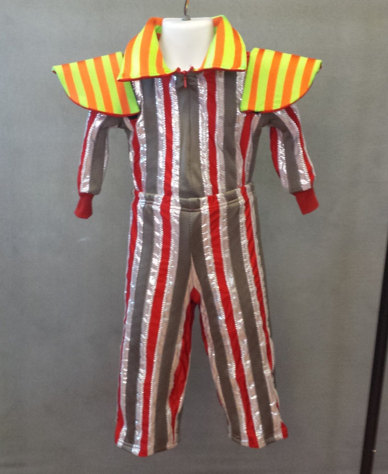 MADE TO ORDER David Bowie  Ziggy Stardust Striped 2 piece suit with high collar and shoulder /'wings/' for Toddlers