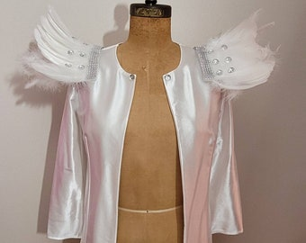 MADE TO ORDER White Stretch Satin Jacket with Feather 'Wings'