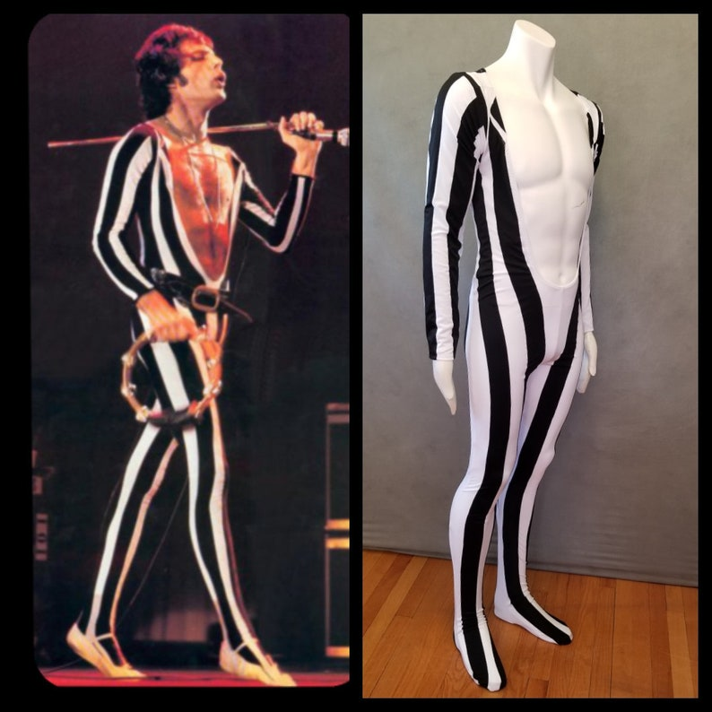 MADE TO ORDER Freddie Mercury Inspired Black and White Striped image 0