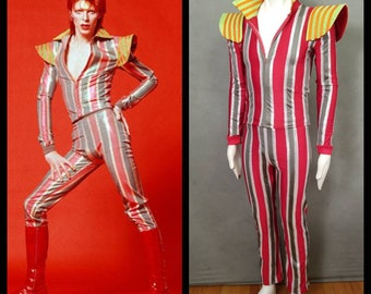MADE TO ORDER David Bowie / Ziggy Stardust Striped 2 piece suit with high collar and shoulder 'wings' for Men