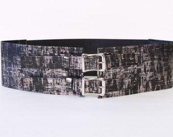 """3"""" Wide Belt with Aluminum Buckles made with a Black and Blush Pink faux Cork Material"""