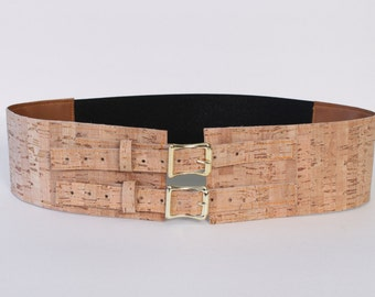 """3"""" Wide Belt with Brass Buckles made with Cork Material"""