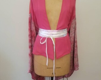 READY TO SHIP Pink Kimono with floral print sleeves