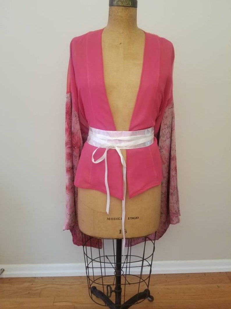 READY TO SHIP Pink Kimono with floral print sleeves image 0