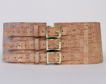 """4"""" Wide Belt with Brass Buckles made with Cork Material"""