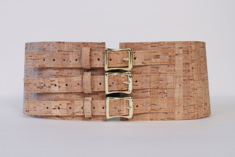 4 Wide Belt with Brass Buckles made with Cork Material image 0