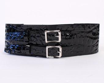 "Black Faux Crocodile 3"" Belt with Aluminum Buckles"