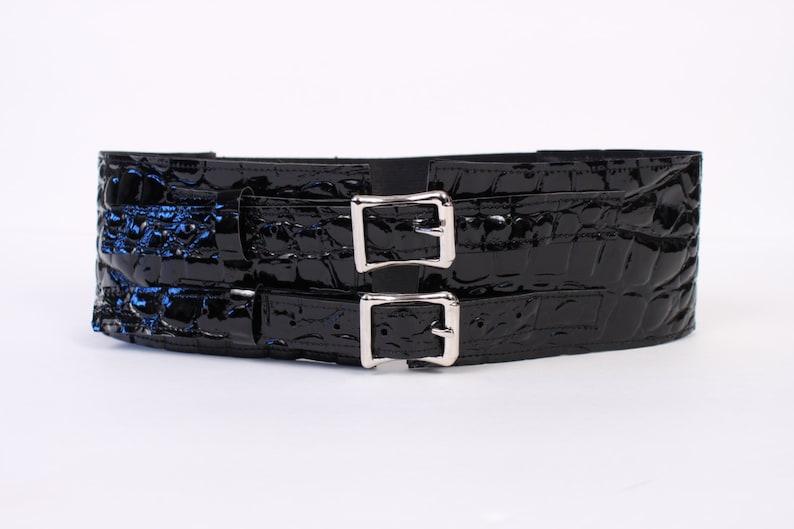 Black Faux Crocodile 3 Belt with Aluminum Buckles image 0