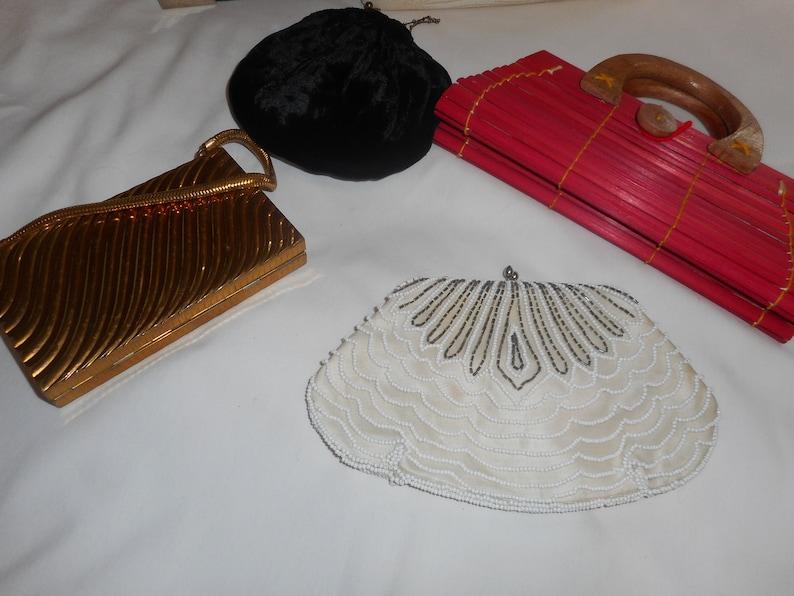 ecafc632517da Purses Handbags Evening Lot of 6 Metal Leather Beaded Velvet Rattan & Cigar  Box