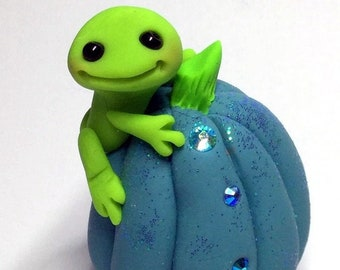 "Frog Trollfling Troll on a Teal Crystal Pumpkin ""JoJo"" by Amber Matthies"