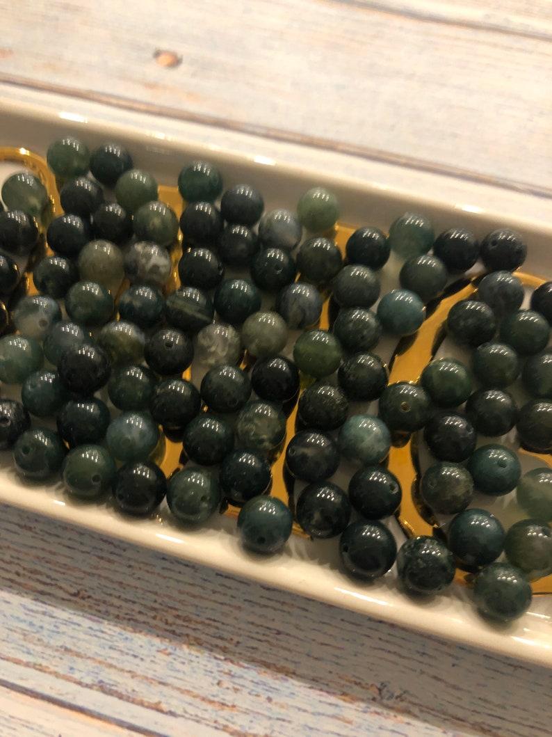 Mala Making 108 Bead Pack 8mm Moss Agate