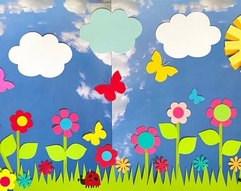 Paper Flower Garden Kit I Flower Die Cuts I Scrapbooking I Kids's Project I Butterflies I Ladybug I Snail