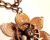 Retro Futuristic Mechanical Robot Copper Lotus Flower Pendant Necklace - Neo Industrial Sci-Fi Romance Collection