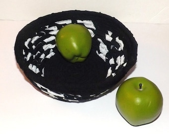 Black and White Fabric Coil Round Bowl - 9 inches around  - 3 inches deep - Comes As Shown
