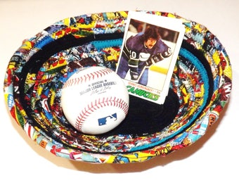 Fabric Covered Coil Bowl - Marvel Fabric and Black - Comes As Shown